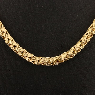 18K Braided Chain Link Necklace