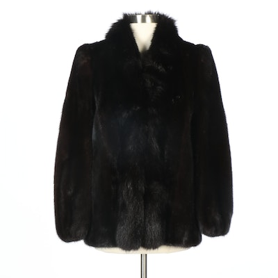 John Tauben Mink Fur Coat with Fox Fur Collar