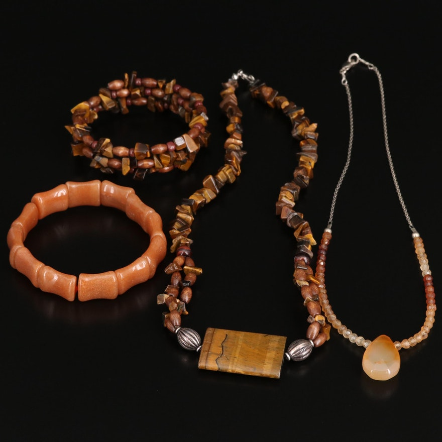 Necklaces and Bracelets Featuring Sterling, Tiger's Eye, Citrine and Quartzite