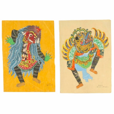 Balinese Gouache Paintings of Garuda and Rangda Dancers