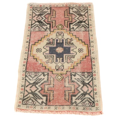 1'8 x 3'0 Hand-Knotted Turkish Village Rug, 1930s