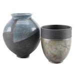 Artisan Signed Raku Ware Pottery Vases