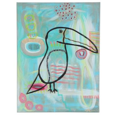 """Jordan Howell Acrylic Painting """"Tonita the Toucan,"""" 2020"""