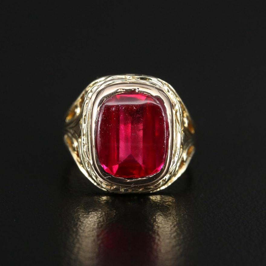 Vintage 14K Ruby Openwork Ring