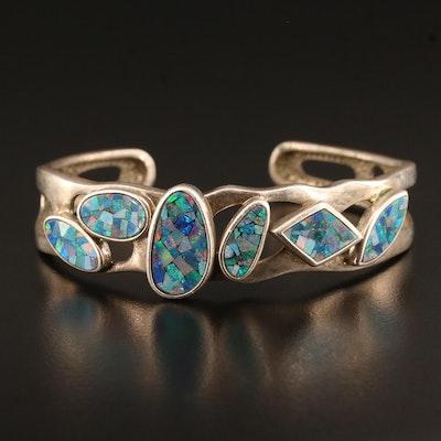 Sterling Silver Opal Openwork Cuff