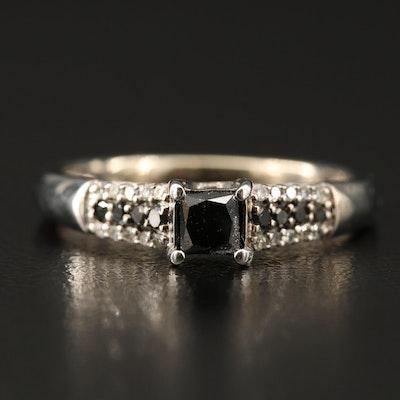 10K Diamond Ring Featuring Black Diamonds
