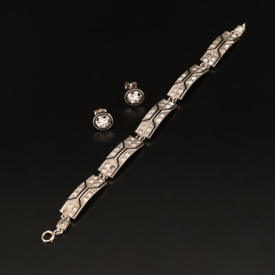 Art Deco Style Rhinestone and Marcasite Panel Bracelet with Floral Stud Earrings
