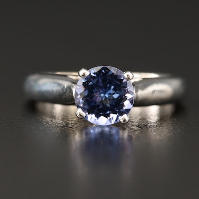 14K Tanzanite Ring with Profile Diamonds