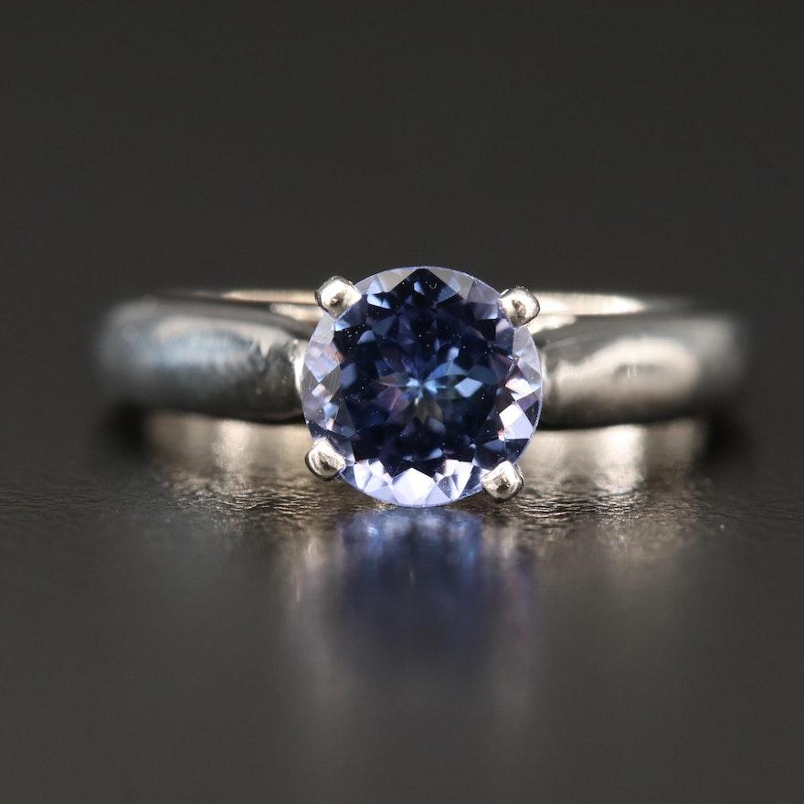 14K Tanzanite Ring with Profile Diamonds