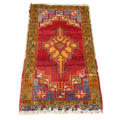 1'7 x 3'3 Hand-Knotted Turkish Village Rug, 1930s