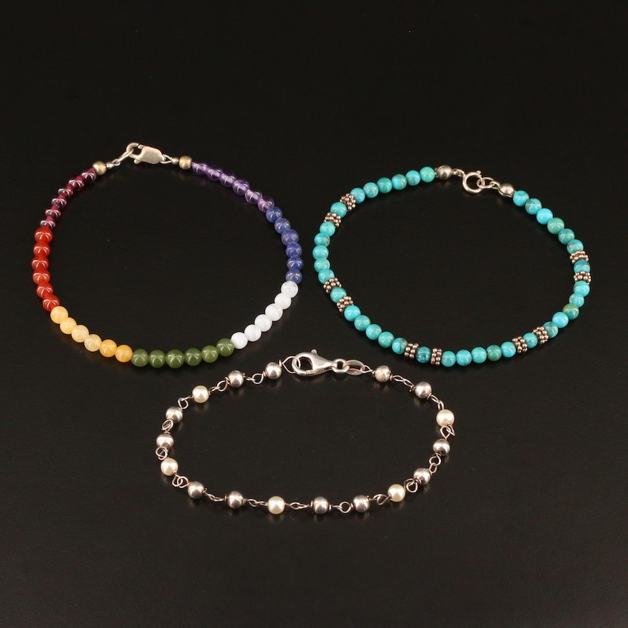 Sterling Silver Beaded Bracelets Featuring Faux Pearls, Turquoise and Nephrite