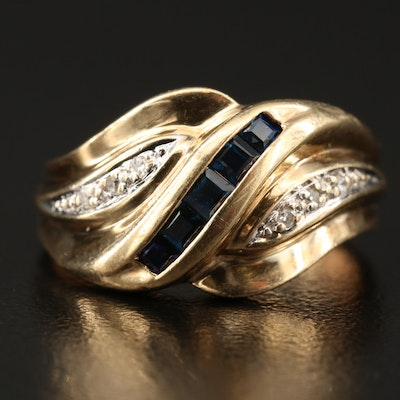 10K Sapphire and Diamond Bypass Ring