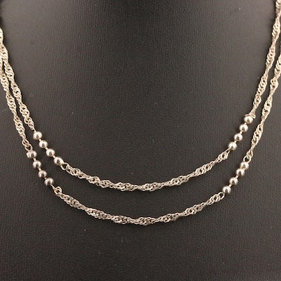Sterling Silver Twist and Bead Necklace