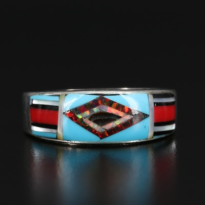 Sterling Silver Mother of Pearl, Opal and Abalone Inlay Band