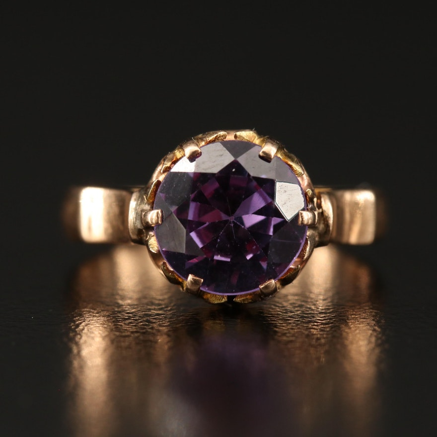 Victorian 14K Sapphire Solitaire Cathedral Ring