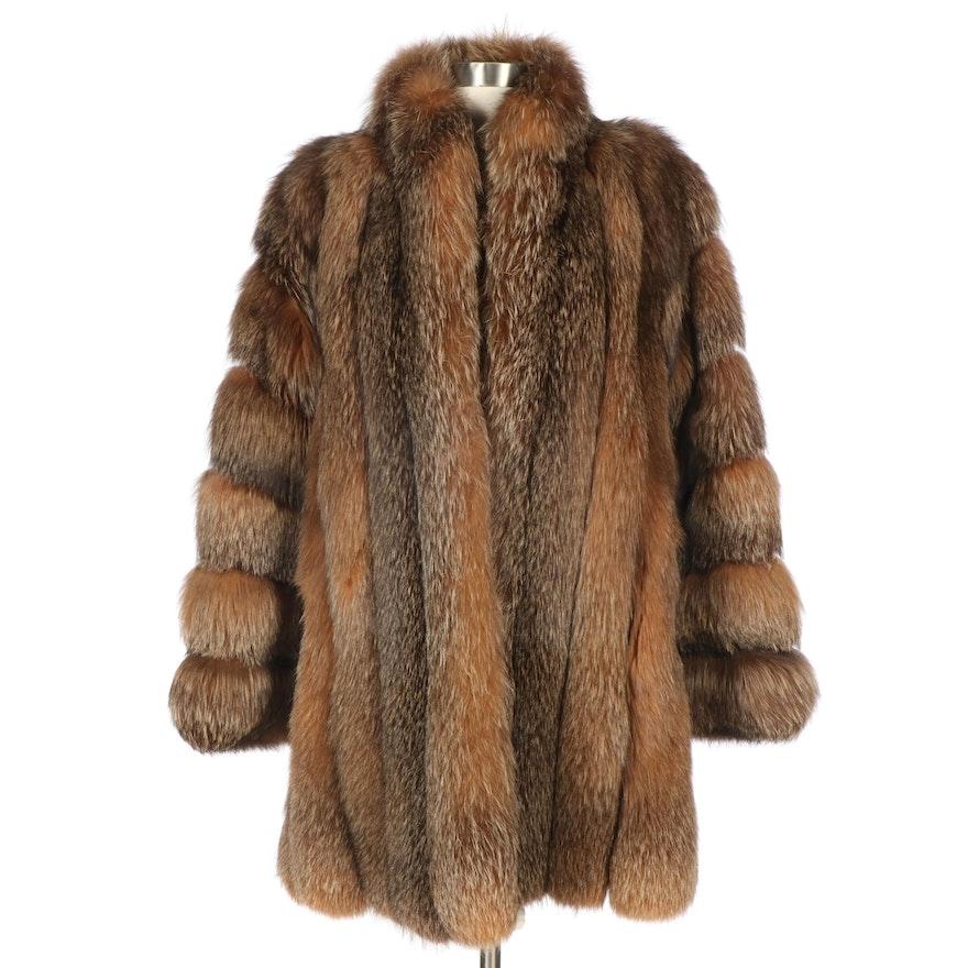 Banded Crystal Fox Fur Coat from Katsovos