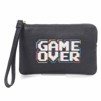 """Coach Pacman """"Game Over"""" Wristlet in Black Leather"""