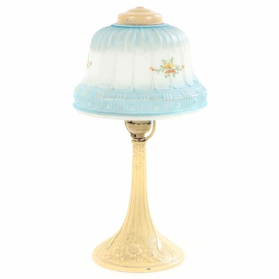 Cold Painted Cast Metal Table Lamp with Opaque Glass Shade, Mid 20th C.