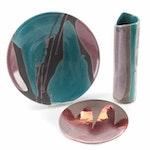 Tony Evans Raku Pottery Bowls and Vase, Late 20th Century