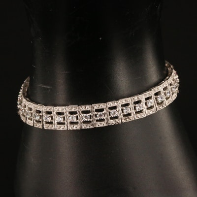 Joseph Esposito Sterling Silver Cubic Zirconia Stretch Bracelet