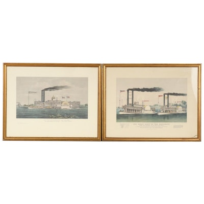 Currier & Ives Letterpress Halftones Depicting Steamboats, Mid 20th Century