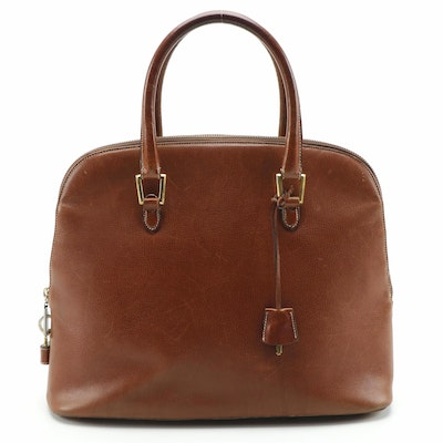Salvatore Ferragamo Brown Leather Dome Top Satchel