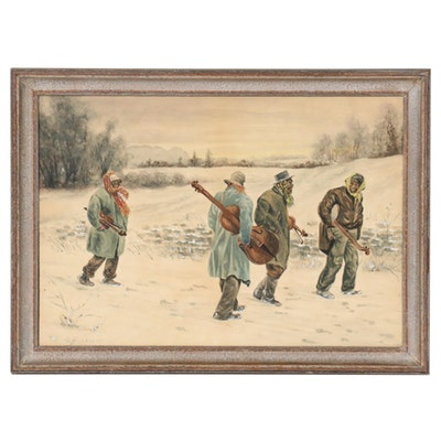 Gouache and Watercolor Painting of Musicians in the Snow, 1895