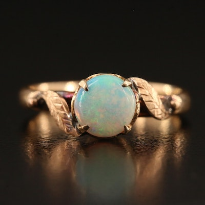 Circa 1900 9K Opal Ring with Foliate Detail