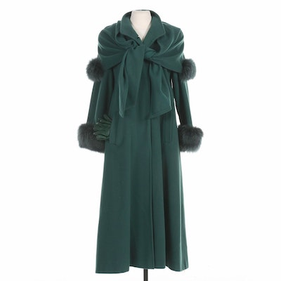 Alan Cherry Cashmere Wool and Fox Fur Coat with Detachable Hood & Leather Gloves