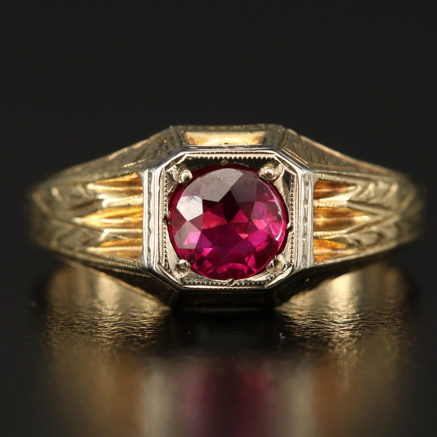 Art Deco 10K Ruby Ring with 18K Accent