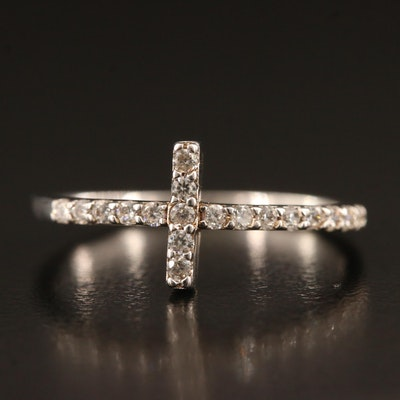 Minimalist Sterling Silver Cubic Zirconia Cross Band