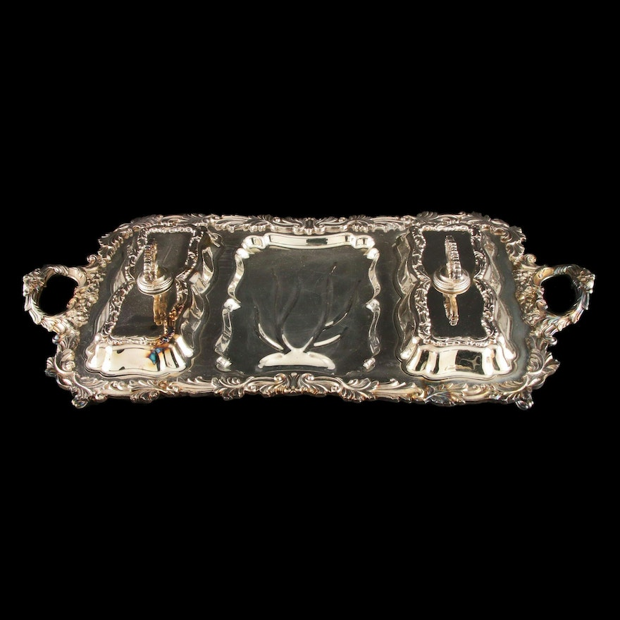 Three Part Footed Meat Silver Plate Platter, Mid-Late 20th Century
