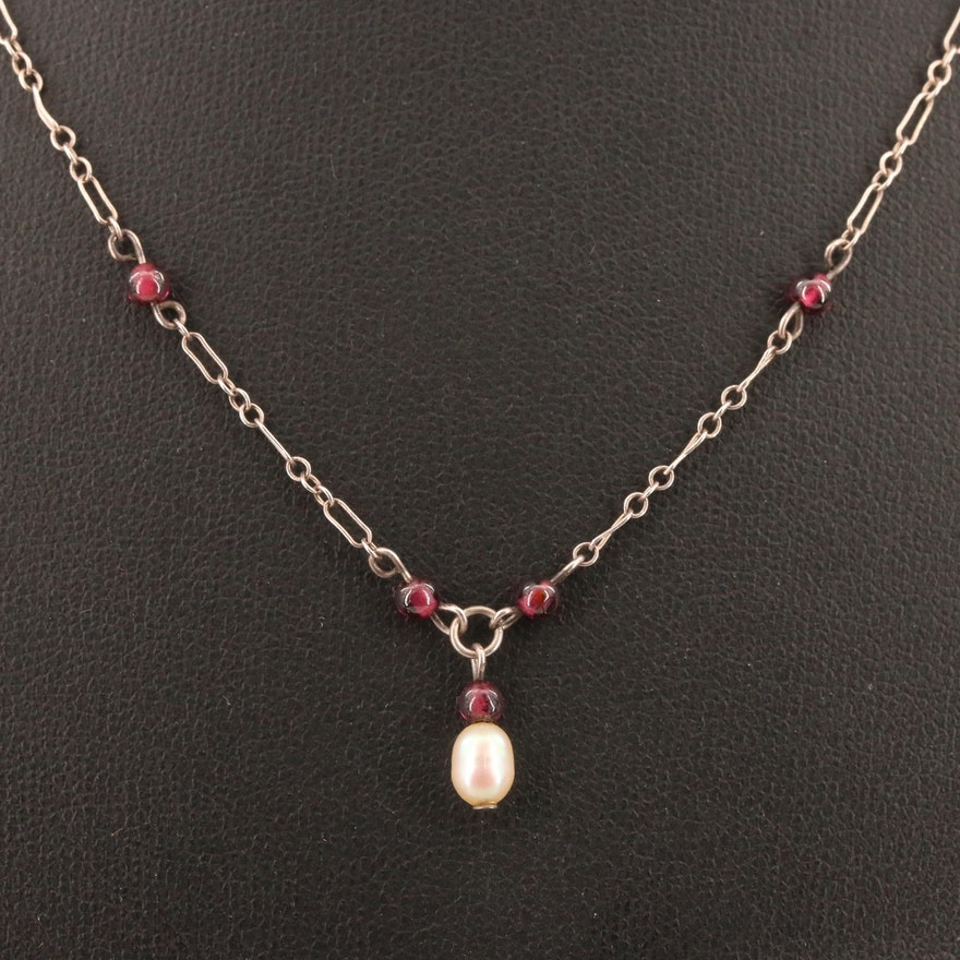 Sterling Silver Garnet and Pearl Necklace