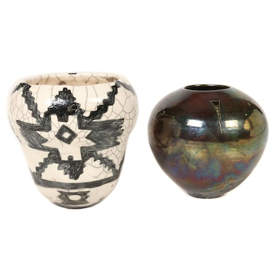 Ben Diller and Megan Riffee Raku Modernist and Southwest Style Pottery