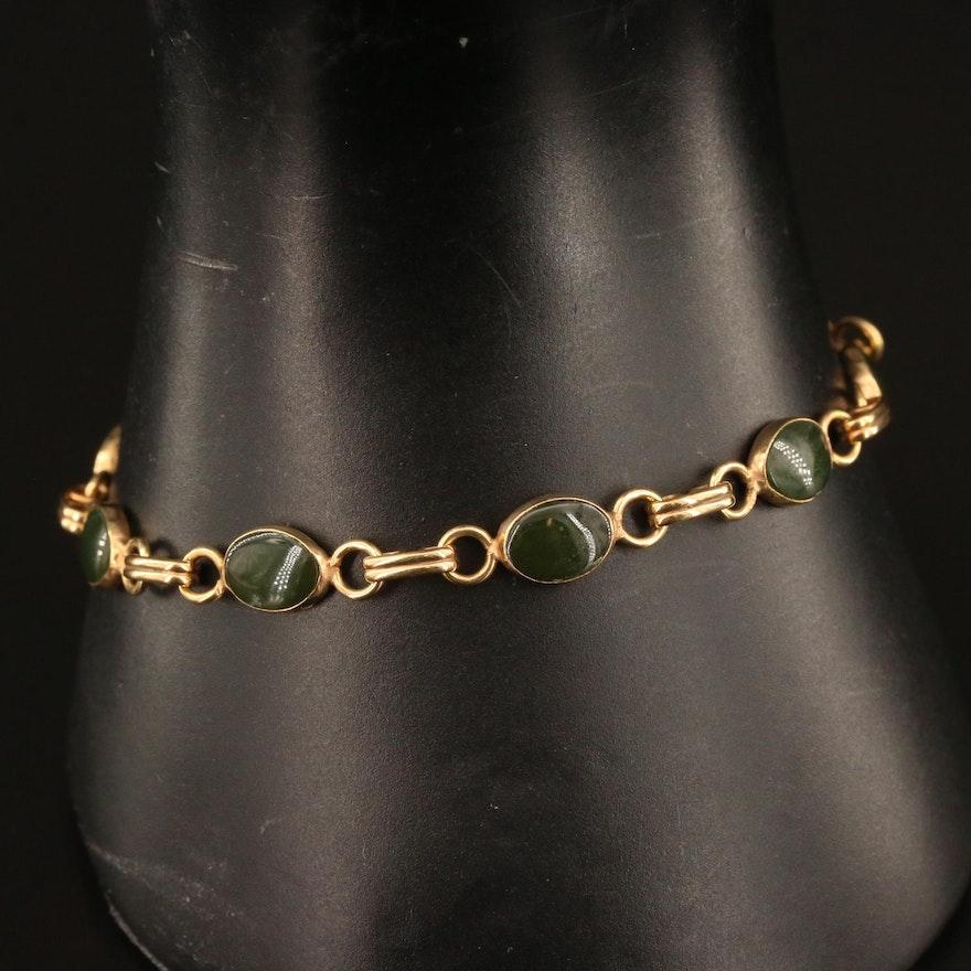 Gold Filled Nephrite Oval Link Bracelet