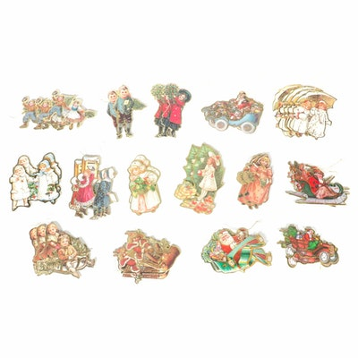 Christmas Eve Inc. Victorian Style Printed Ornaments, 1980's