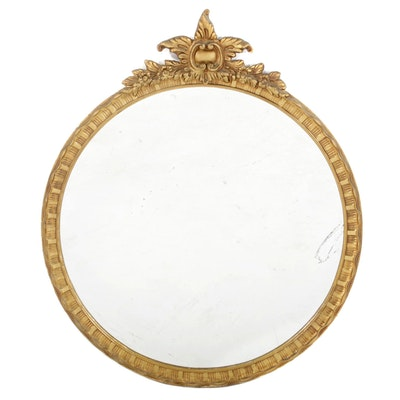 Rococo Style  Gilt Wood and Gesso Round Wall Mirror, Early-Mid 20th Century
