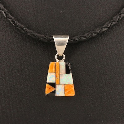 Southwestern Style Sterling Silver Gemstone Inlay Reversible Pendant Necklace