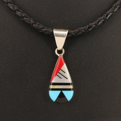 Southwestern Style Sterling Silver Pendant Necklace with Gemstone Inlay