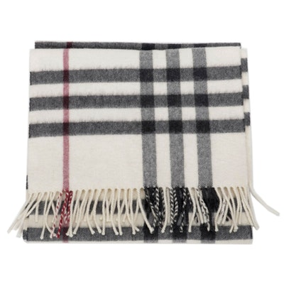 Burberry Check Fringed Cashmere Scarf