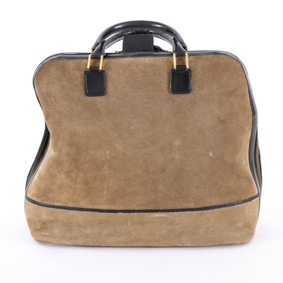 Koret Brown Suede and Black Leather Travel Bag