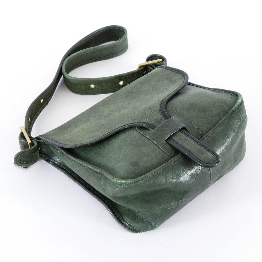 Coach Hunter Green Leather Flap Front Shoulder Bag