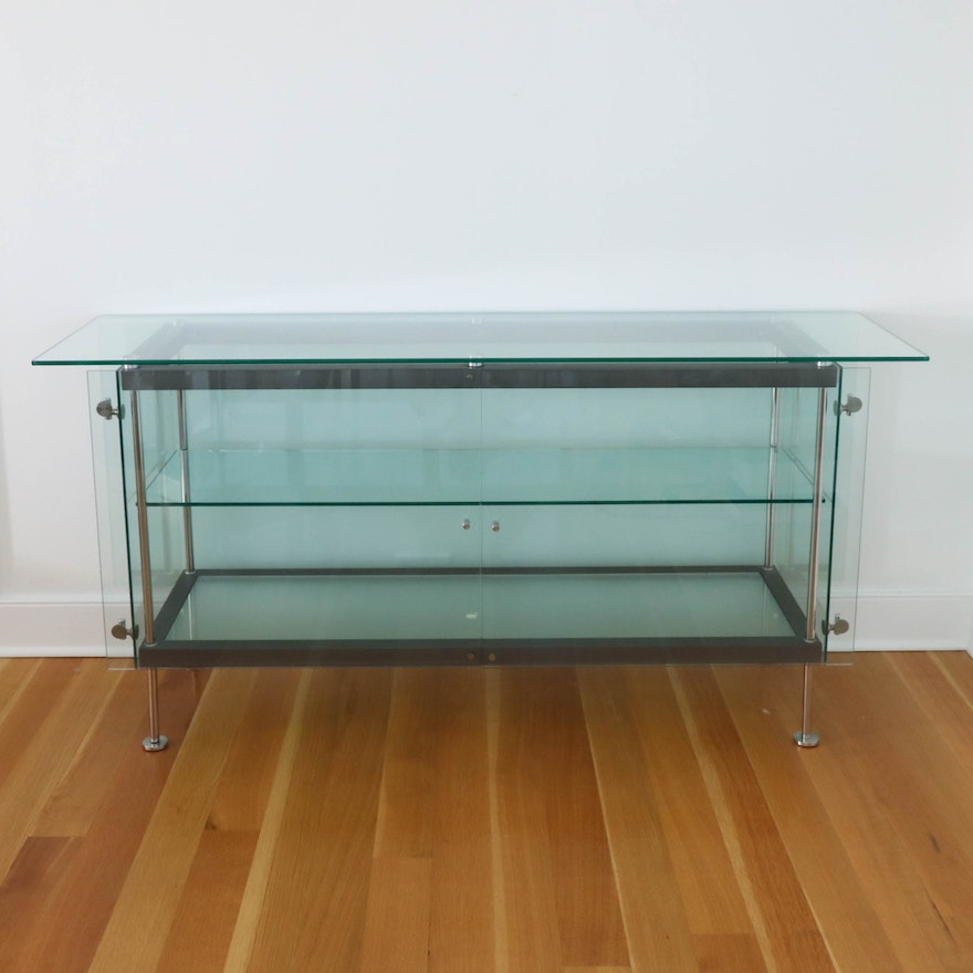 Modern Chrome and Glass Display Cabinet