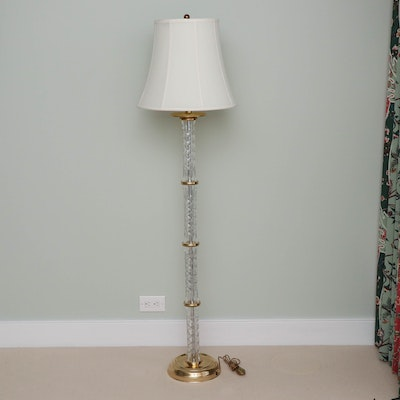 Waterford Crystal and Brass Floor Lamp with Fabric Bell Shade