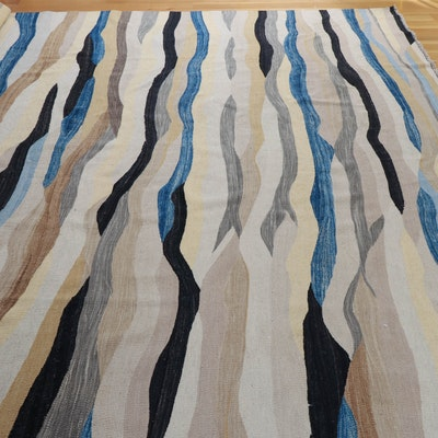 9'4 x 14'4 Hand-Knotted Wool Area Rug in Natural, Steel Grey and Blue Hues