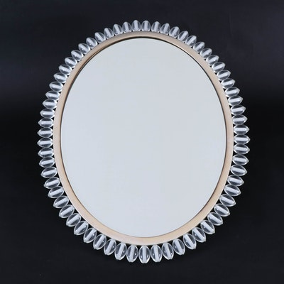 Baker Furniture Italian Wall Mirror with Crystal Bead Frame, Contemporary