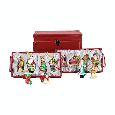 Katherine's Collection Glass Holiday Ornaments with Storage Case