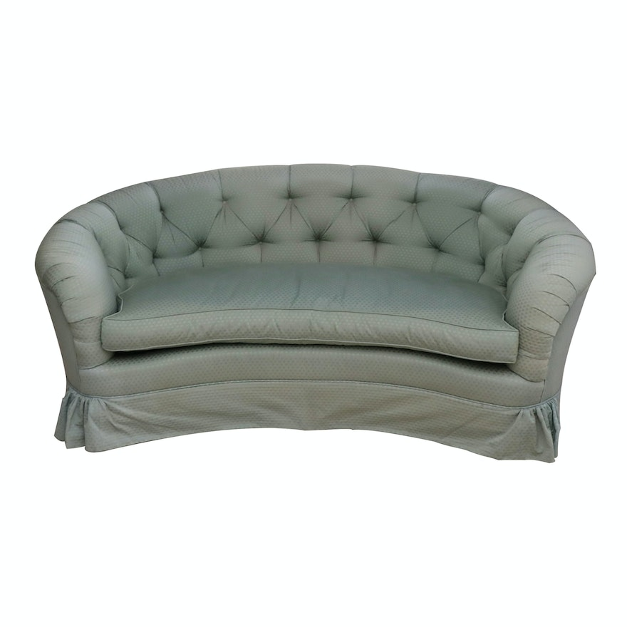 John Widdicomb Button-Tufted Sage Green Loveseat with Down-Filled Seat