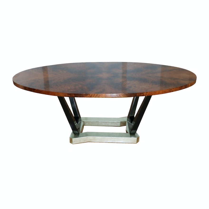 Flame Mahogany Bookmatched Veneer Dining Table with Modern Base, Late 20th C