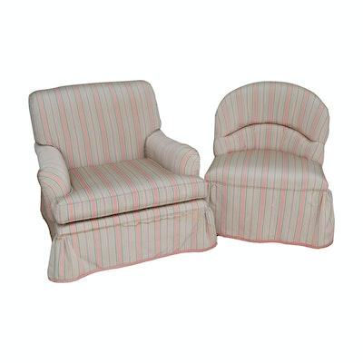 John Widdicomb Stripe Upholstered Armchair and Slipper Chair, Late 20th Century